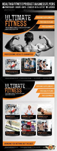 Professional psd flyers for fitness and gym promotions and advertisement