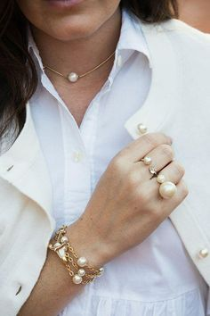 Gold Jewelry Add an extra layer of glamour to your wrist with our new pearl and chain bracelets. Perfect for layering. Pearl Jewelry, Jewelery, Gold Jewellery, Jewelry Rings, Jewelry Accessories, Jewelry Design, Piercings, Fashion Jewelry, Women Jewelry