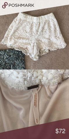 Free People lace shorts Authentic lace shorts from Free People. Have only been worn a few times and are in great condition. Are size small but could fit a M or L. Use offer button please :) Free People Shorts