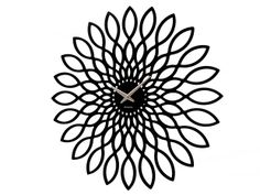 Black wall clock Sunflower big from the 'Living' range from Karlsson