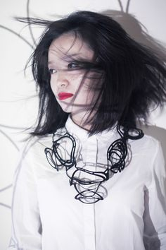 Black Lune - Rubber lasercut necklace by JELKA QUINTELIER-BE-UK