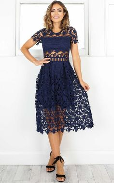 Showpo Magic Mystery dress in navy crochet - 20 (XXXXL) Longer Dresses