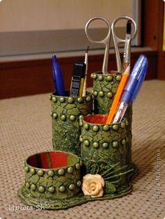 Поделка изделие Папье-маше Карандашница и коробочка Бумага фото 1