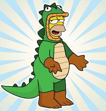 Nuestro famoso invitado.... Homer!!! DIsfrazado de Godzilla ... Homerzilla