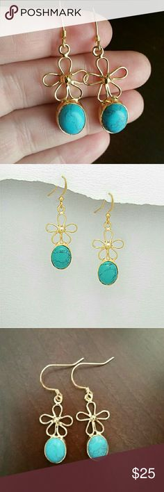 Pretty Turquoise 18K Gold Flower Earrings NWT Pretty NWT Blue Turquoise and 18K Gold Flower Earrings. Features flower design on each. BRAND NEW, NEVER WORN! NWT, NIP, comes in original packaging. Comes with brand-new plastic backs for secure wear. Metal is 18 karat gold plated brass. Feel free to ask any questions. MAKE MEAN OFFER! FREE GIFT with every purchase! Bundle for further discounts. Boutique  Jewelry Earrings