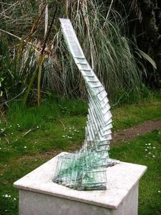 Glass on marble Abstract Contemporary or Modern Outdoor Outside Exterior Garden / Yard Sculptures Statues statuary sculpture by artist Peter Newsome titled: 'Lyrical Curve'