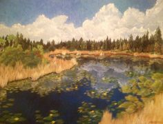 """Pond on the English River Reserve II, 2012, 18"""" x 24"""", acrylic on canvas, Sold."""