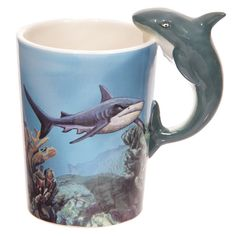 Sealife Design Mug Shark Shaped Handle Presen Gift by getgiftideas