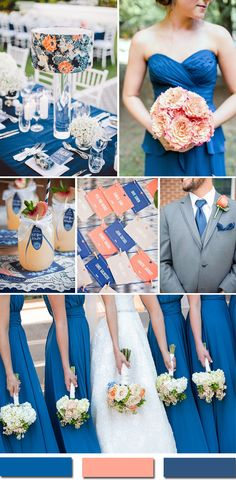royal blue and peach wedding color ideas relationship wants / royal blue dress for wedding / royal blue wedding dress / blue wedding dress royal / royal blue wedding Peach Wedding Colors, Popular Wedding Colors, Wedding Color Schemes, Sapphire Wedding Theme, Wedding Ideas Blue, Navy Peach Wedding, Wedding Flowers, Trendy Wedding, Summer Wedding