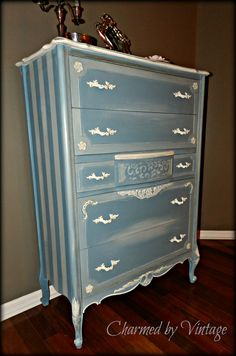 Ornate Shabby French Blue Chest of Drawers by CharmedByVintage, $625.00