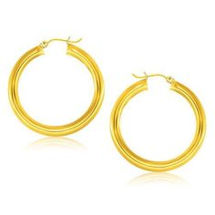 14K Yellow Gold Polished Hoop Earrings (40 mm) P150-42226