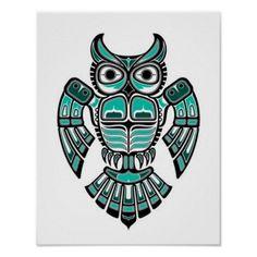 Teal Blue and Black Haida Spirit Owl Poster | Zazzle