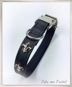 Clic Deluxe Dog Collar - Phantom Nappa with Fleurs de Lys - Lightweight & Easy to Open - Handcrafted by Koko von Knebel