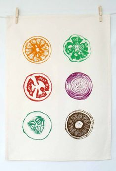 Hand Printed Tea Towel. $19.00, via Etsy.