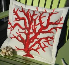 Hand-painted Two-tone Red Branch Coral Indoor & Outdoor Pillow