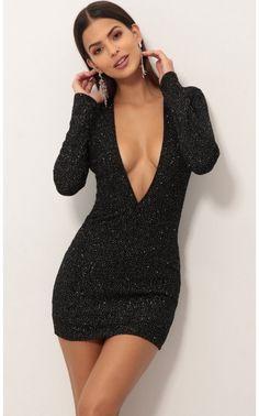 Party dresses > Paris Plunge Dress in Black Crystal Tight Dresses, Sexy Dresses, Cute Dresses, Short Dresses, Fashion Dresses, Formal Dresses, Classy Dress, Classy Outfits, Sexy Outfits