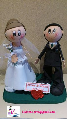 Fofuchos personalizados novios hechos para Manolo e Irene/Personalized fofucho dolls just married specially made for Manolo e Irene