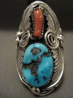 This piece includes a phenomenal Old Kingman or Old Sleeping Beauty turquoise stone with a beautiful accenting red coral stone. Surrounding the stones are impeccable silver works which include hand carved silver leaves, swirls, raindrops and ropes. | eBay!