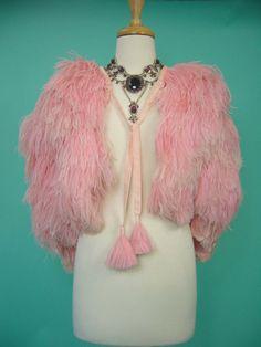Vintage Pink Ostrich Feather Capelet 1930s Museum Cape Fur Bolero Jacket Coat
