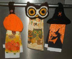 Crochet Owl, Pumpkin,Witch Hat Towel Top by - Craftsy Crochet Towel Holders, Crochet Dish Towels, Crochet Towel Topper, Crochet Kitchen Towels, Crochet Dishcloths, Crochet Fall, Holiday Crochet, Free Crochet, Knit Crochet