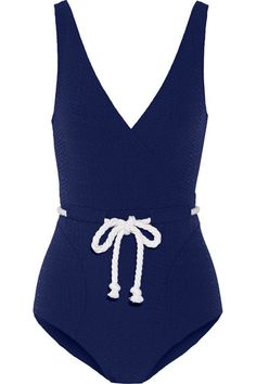 Lisa Marie Fernandez Navy One Piece Bathing Suit with Rope Belt