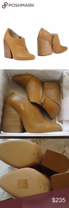 "New In Box Chloe Stabio Ankle Boots Chloe camel smooth leather side-zip booties styled with wide chunky stacked leather heel and toe cap. 4"" (100mm) heel, approximately. Concealed side-zip closure. Leather sole. Made in Italy. Brand new in box. Chloe Shoes Ankle Boots & Booties"