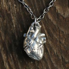 Pewter anatomical heart necklace on a gunmetal chain. Unique Valentine's Day gift for a scientist, teacher, doctor, or nurse!