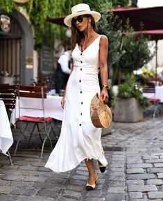 dress button up midi dress chanel mules v neck dress bag straw hat sungla - Chanel Dresses - Trending Chanel Dress for sales - dress button up midi dress chanel mules v neck dress bag straw hat sunglasses earrings Wheretoget Outfits With Hats, Chic Outfits, Dress Outfits, Fashion Outfits, Womens Fashion, Maxi Dresses, Linen Dresses, Nye Outfits, Hipster Outfits