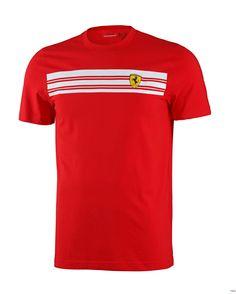 Koszulka Ferrari Mens Striped Tee - Red 3 CZERWONY   FERRARI MEN \ T-SHIRT   Fbutik   Scuderia Ferrari Collection