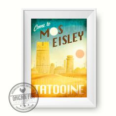 Star Wars Retro Travel Poster - Mos Eisley - Tatooine - Retro Print by TheOrigamiFox on Etsy https://www.etsy.com/uk/listing/250525125/star-wars-retro-travel-poster-mos-eisley
