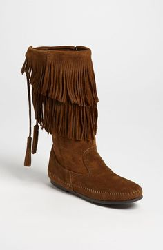 Minnetonka Two Layer Fringed Boot | Nordstrom
