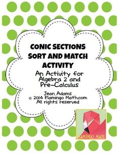 Conic Sections Sort and Match Activity