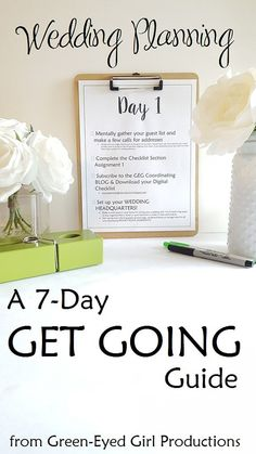 7-Day Get Going System: Complete DIGITAL Wedding Planning Coordinating Package, Project Block Workbook & Worksheets, Planning a Wedding