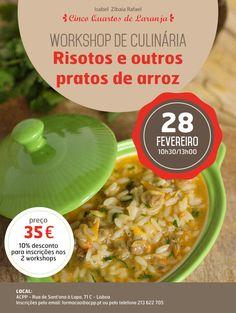 Cartaz do workshop Risotos e outros pratos de arroz a 28 de Fevereiro de 2015 em Lisboa.