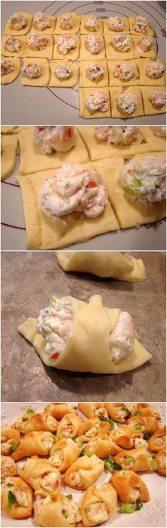 Crab Filled Crescent Wontons / these look so yummy!