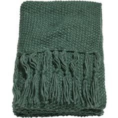 H&M Moss-knit blanket (425 DKK) via Polyvore featuring home, bed & bath, bedding, blankets, blanket, dark green, throw, fringed throws, hunter green bedding and h&m