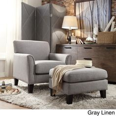 @Overstock - TRIBECCA HOME Uptown Modern Accent Chair and Ottoman - Bring modern sophistication to your home decor with the Uptown chair and ottoman set. Finished in a clean grey linen or Light brown microfiber, this handsome chair and ottoman set is filled with thick foam padding for extreme comfort.  http://www.overstock.com/Home-Garden/TRIBECCA-HOME-Uptown-Modern-Accent-Chair-and-Ottoman/8767750/product.html?CID=214117 $439.99