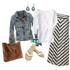 more chevron with denim. Mix it up and add boots instead of sandals . LOVE