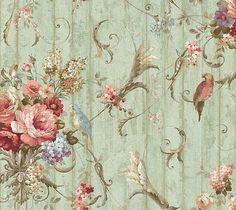 wallpaper HA1326 bird rose French cottage floral blue green
