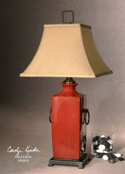 Rocco Porcelain Lamp in Contemporary Style with Red Tomato Glaze by Uttermost Lamps.  Porcelain Table Lamps in Many Sizes and Styles. Free Shipping.