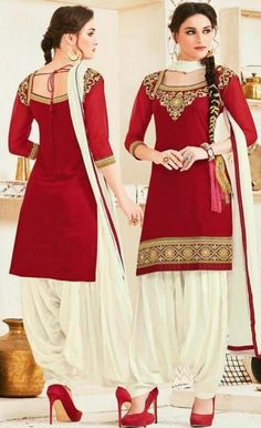 Party Wear Red & Off White Georgette Patiala Suit