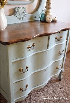 Chippy Finish antique dresser. With curved front detail. #refinishedfurniture
