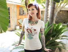 Cherry Beauty Tshirt size S, M, L,XL,2XL,3XL in Heather beige by Cherry Dollface × Mischief Made