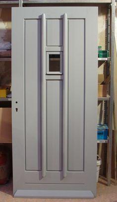 Front door in the making. Tall Cabinet Storage, Locker Storage, Swinging Doors, Door Makeover, Types Of Doors, Diy Door, New Homes, Own Home, House