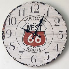 Antique Vintage America Style ROUTE 66 Round Wood Wall Clock Classical Wall Clocks Home Coffee Bar Decoration