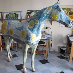 "Mosaic horse of Starry Night from ""Horses"" Saratoga exhibit by artist from Canal Crossing Mosaic in Schuylerville NY."