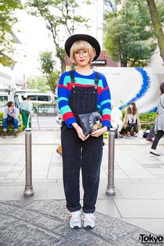 Harajuku Girl in Corduroy Overalls, Colorblock Sweater, Joyrich & New Balance
