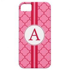 Pink and Red Monogram iPhone 5 Case
