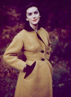 1950's fashion shoot, yellow coat.