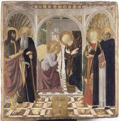 Annonciation de Cosimo Rosselli (1473, fond d'or, 150 x 156 cm, Musée des Offices, Florence).